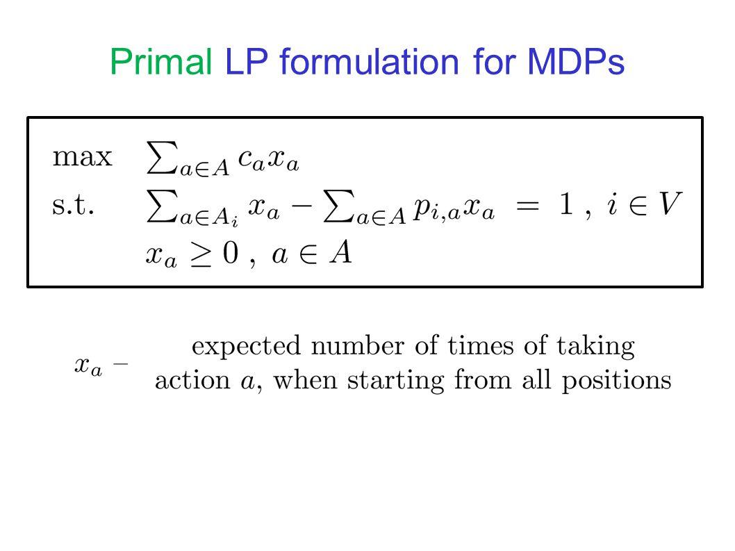 Dual LP formulation for MDPs