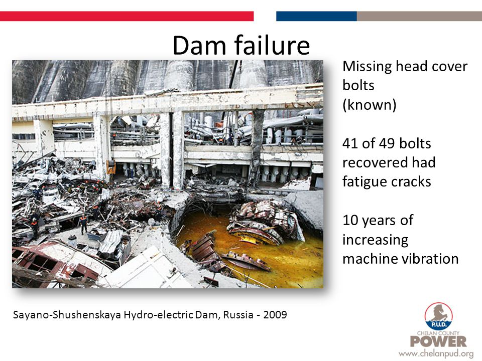 Dam failure Sayano-Shushenskaya Hydro-electric Dam, Russia - 2009 Missing head cover bolts (known) 41 of 49 bolts recovered had fatigue cracks 10 year