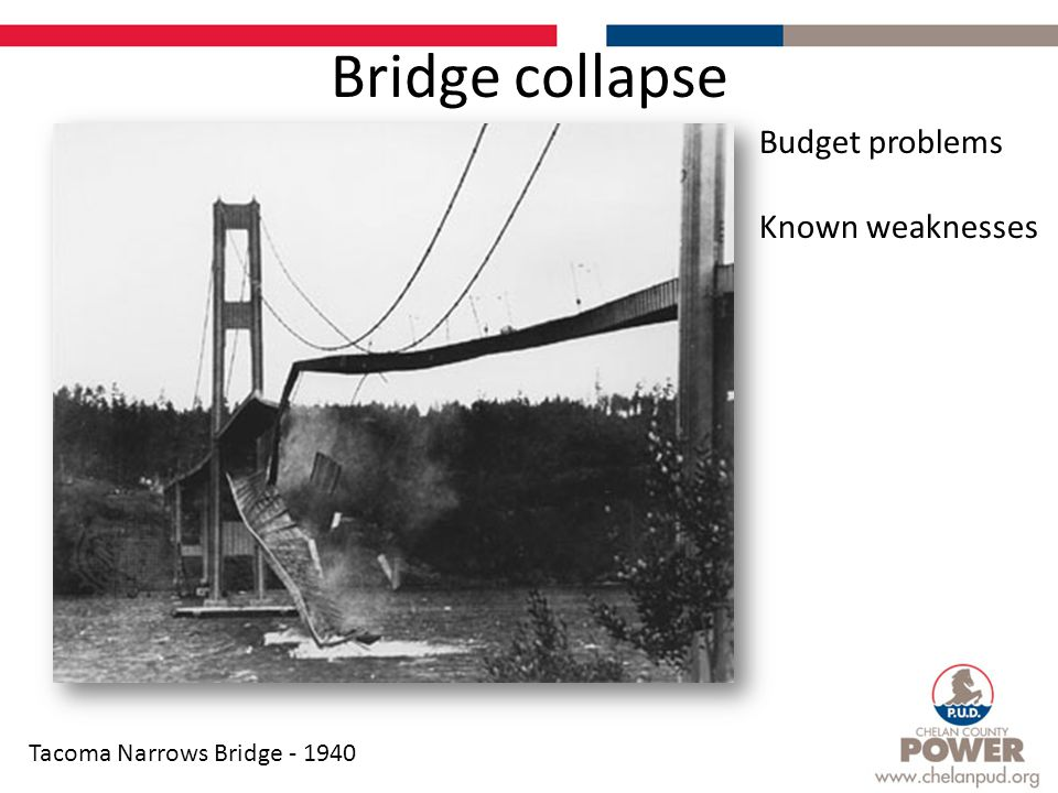 Bridge collapse Tacoma Narrows Bridge - 1940 Budget problems Known weaknesses