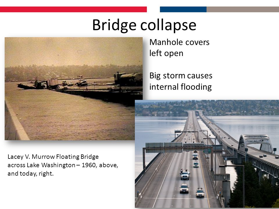 Bridge collapse Lacey V. Murrow Floating Bridge across Lake Washington – 1960, above, and today, right. Manhole covers left open Big storm causes inte