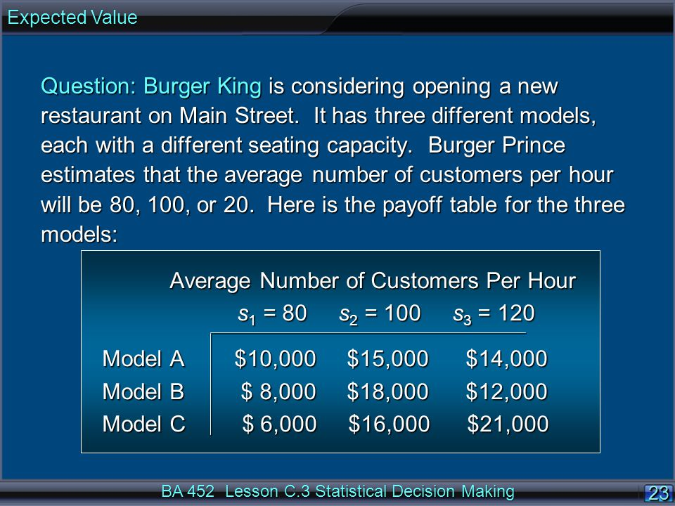 23 BA 452 Lesson C.3 Statistical Decision Making Question: Burger King is considering opening a new restaurant on Main Street. It has three different