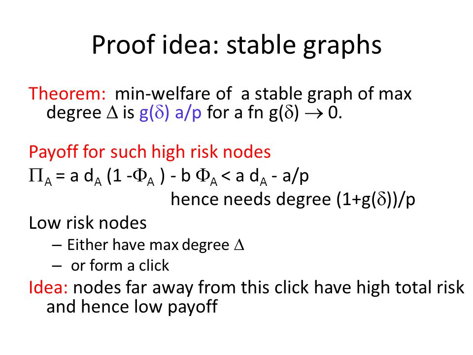 Proof idea: stable graphs Theorem: min-welfare of a stable graph of max degree  is g(  ) a/p for a fn g(  )  0.