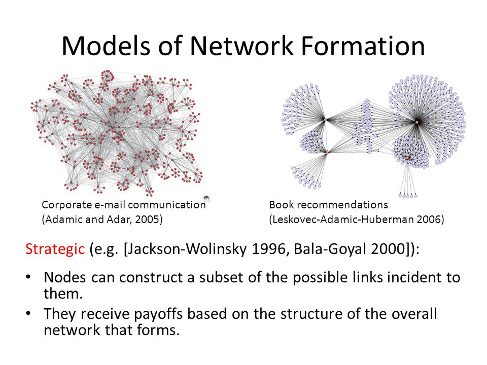 Models of Network Formation Strategic (e.g.