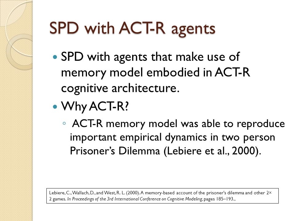 SPD with ACT-R agents SPD with agents that make use of memory model embodied in ACT-R cognitive architecture.