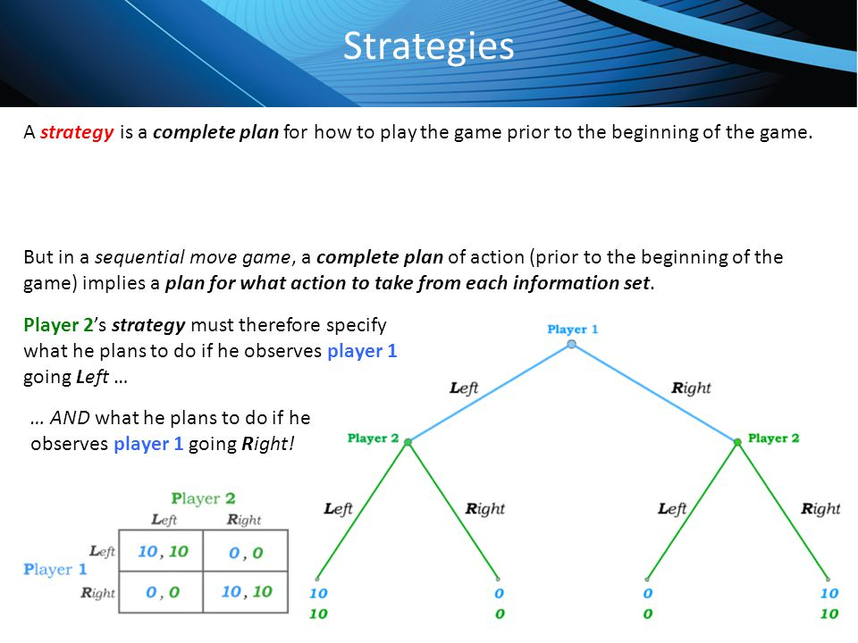 Click to edit Master title style Strategies A strategy is a complete plan for how to play the game prior to the beginning of the game. But in a sequen