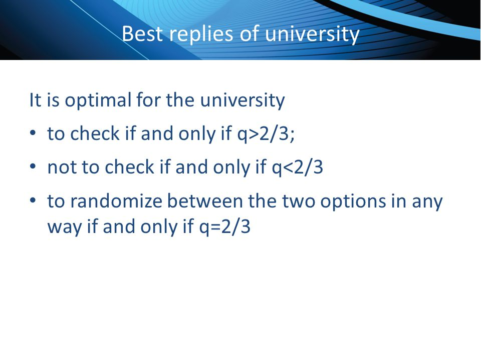 Click to edit Master title style Best replies of university It is optimal for the university to check if and only if q>2/3; not to check if and only i