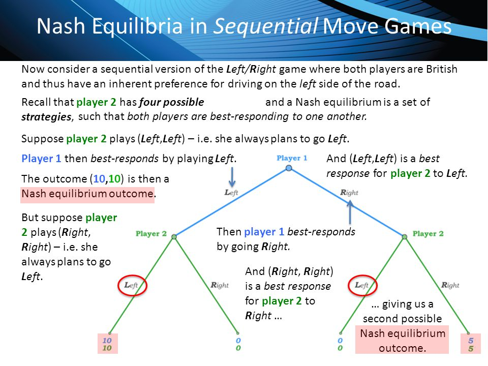 Click to edit Master title style Nash Equilibria in Sequential Move Games Now consider a sequential version of the Left/Right game where both players