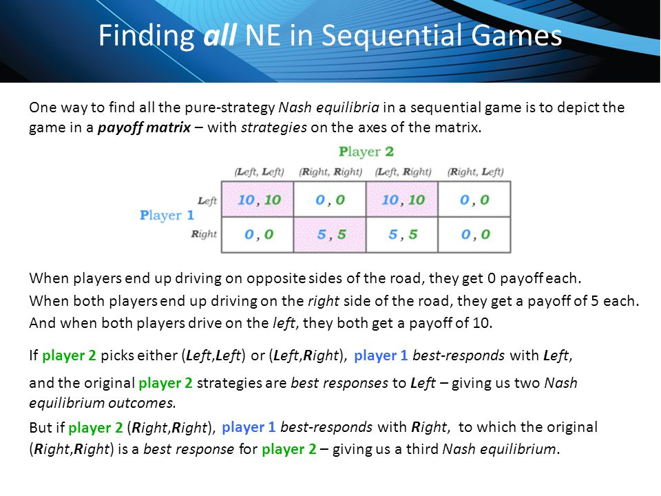 Click to edit Master title style Finding all NE in Sequential Games One way to find all the pure-strategy Nash equilibria in a sequential game is to d