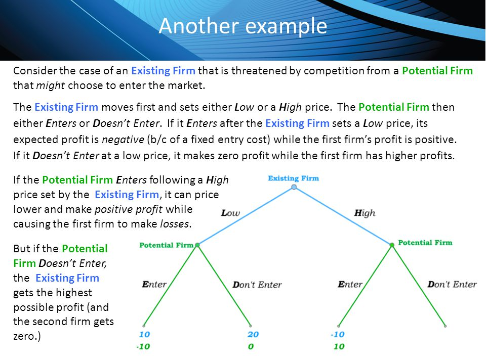 Click to edit Master title style Another example Consider the case of an Existing Firm that is threatened by competition from a Potential Firm that mi