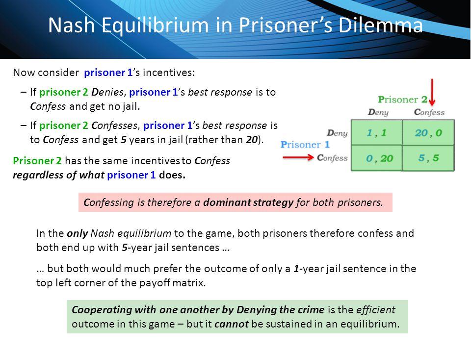 Click to edit Master title style Nash Equilibrium in Prisoner's Dilemma Now consider prisoner 1's incentives: –If prisoner 2 Denies, prisoner 1's best