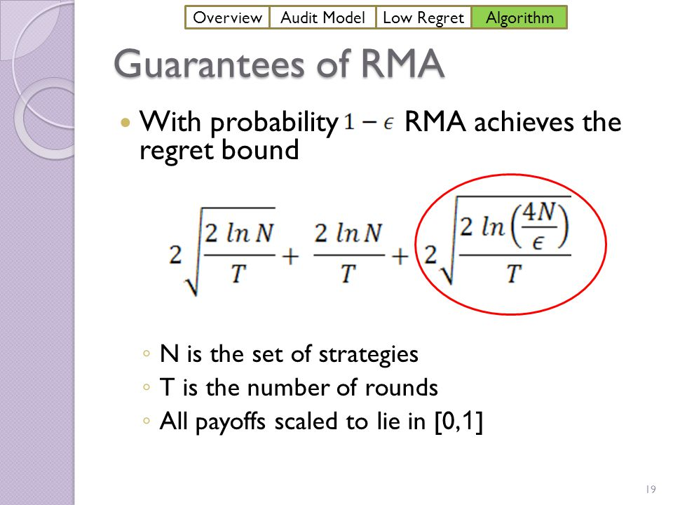 Guarantees of RMA With probability RMA achieves the regret bound ◦ N is the set of strategies ◦ T is the number of rounds ◦ All payoffs scaled to lie in [0, 1 ] 19 OverviewAudit ModelLow Regret Algorithm