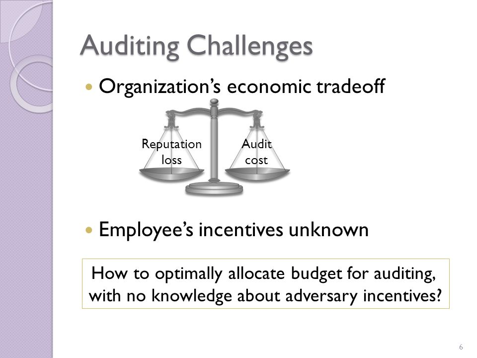 Audit Algorithm by Example OverviewAudit ModelLow Regret Algorithm Auditing budget: $3000/ cycle Cost for one inspection: $ 1 00 Only 30 inspections per cycle Auditor 1 00 accesses 30 accesses 70 accesses Access divided into 2 types Loss from 1 violation (internal, external) $500, $ 1 000 $250, $500