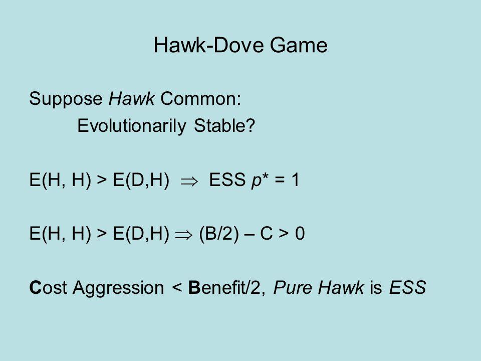 Hawk-Dove Game Suppose Dove Common: Evolutionarily Stable.
