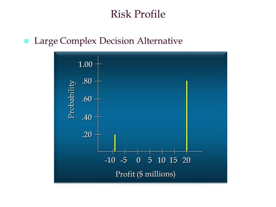 Risk Profile n n Large Complex Decision Alternative.20.40.60.80 1.00 -10 -5 0 5 10 15 20 Probability Profit ($ millions)