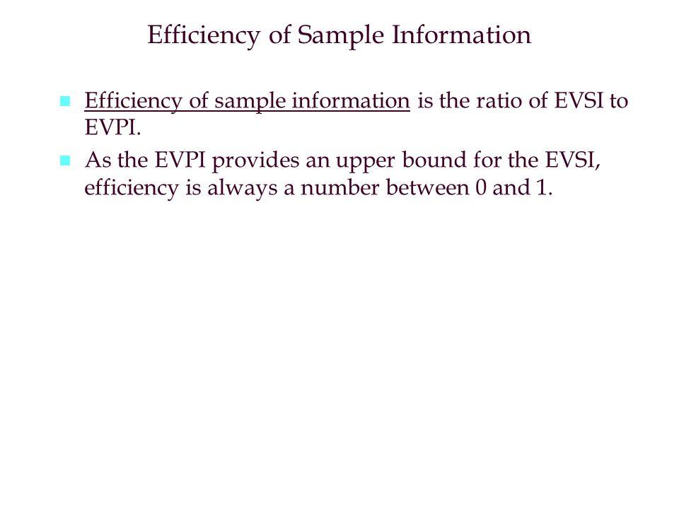 Efficiency of Sample Information n n Efficiency of sample information is the ratio of EVSI to EVPI. n n As the EVPI provides an upper bound for the EV