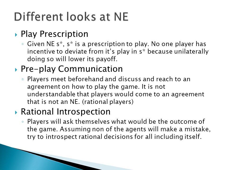  Play Prescription ◦ Given NE s*, s* is a prescription to play.