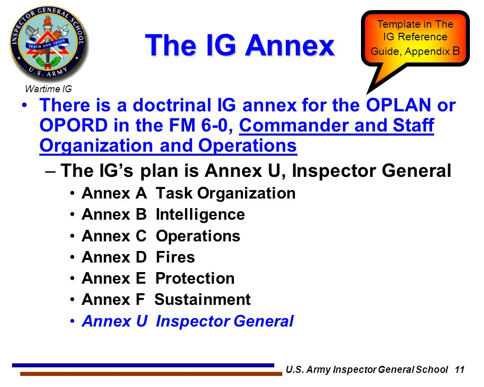 Wartime IG U.S. Army Inspector General School 11 The IG Annex There is a doctrinal IG annex for the OPLAN or OPORD in the FM 6-0, Commander and Staff