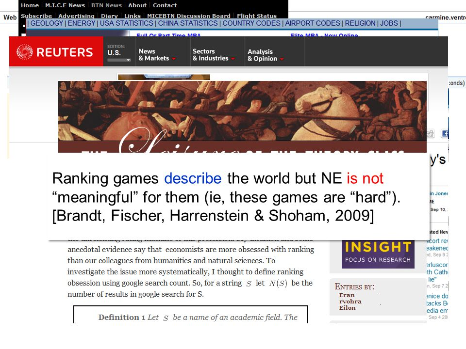 Ranking games describe the world but NE is not meaningful for them (ie, these games are hard ).