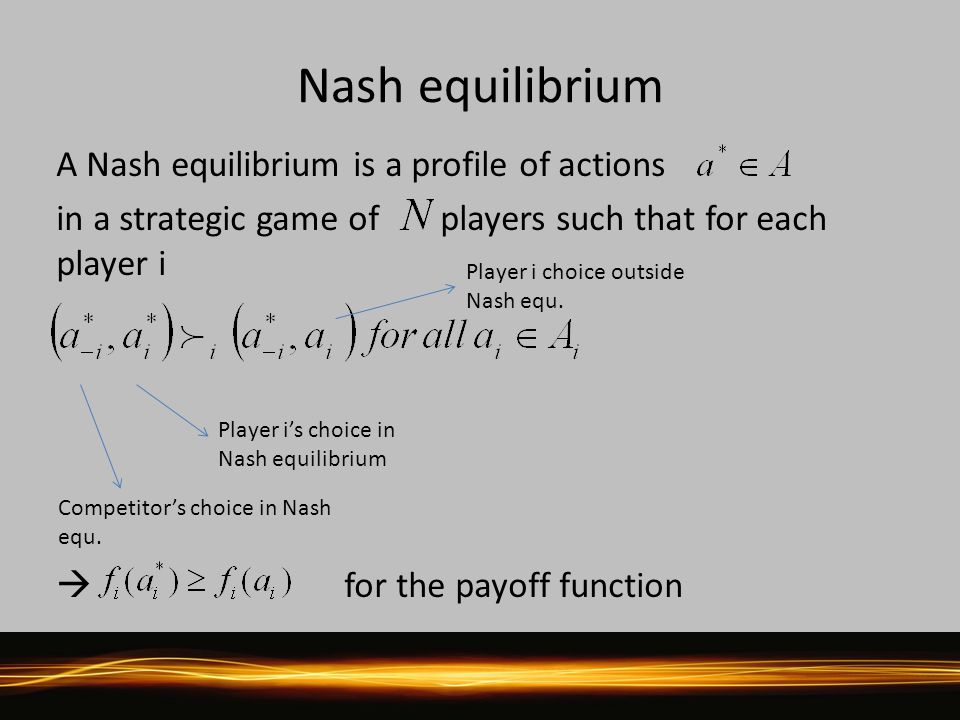 Nash equilibrium A Nash equilibrium is a profile of actions in a strategic game of players such that for each player i  for the payoff function Competitor's choice in Nash equ.