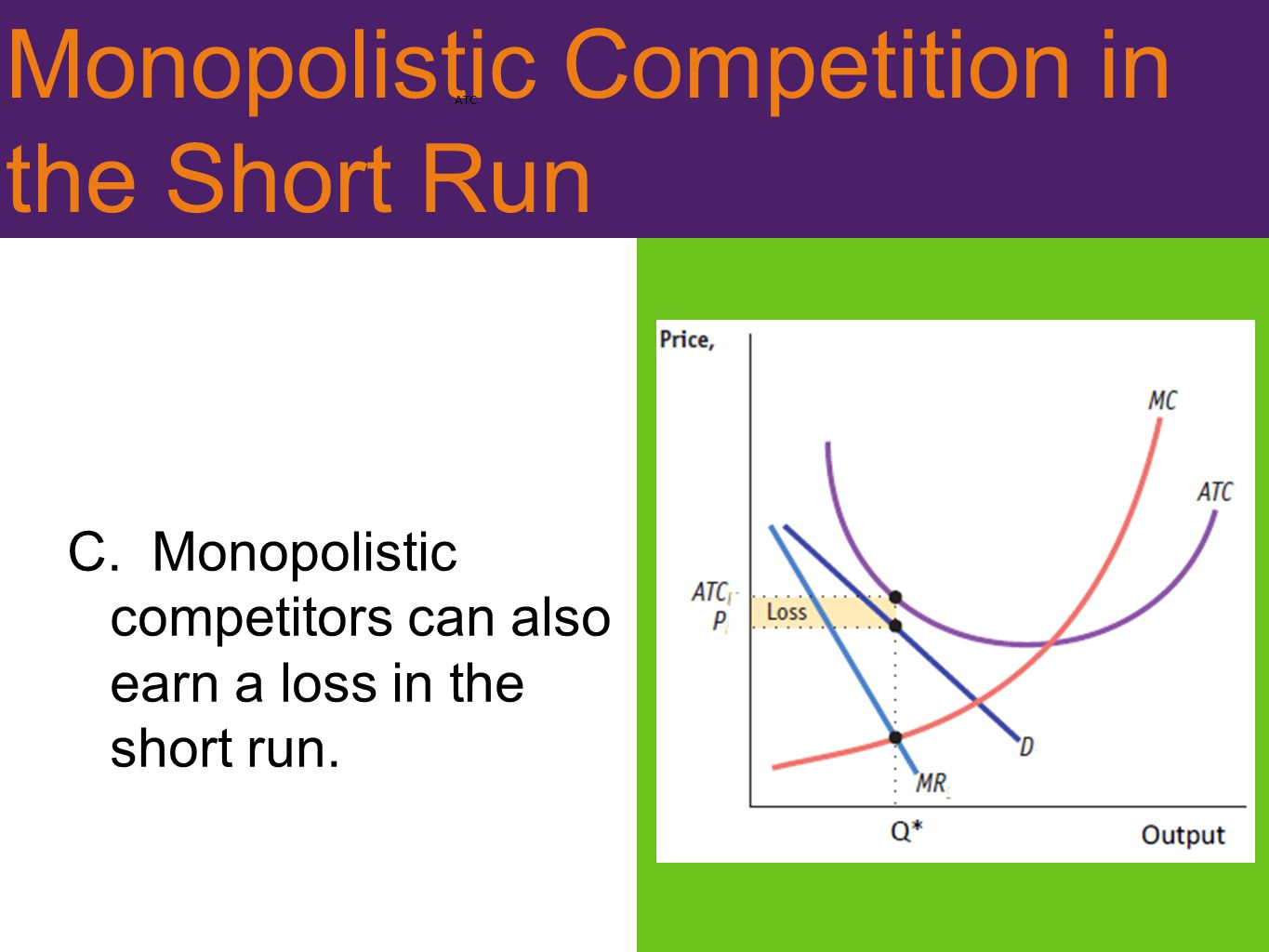 Monopolistic Competition in the Short Run C. Monopolistic competitors can also earn a loss in the short run. ATC