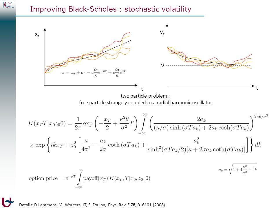 Improving Black-Scholes : stochastic volatility ΔxΔx Black-Scholes-Merton model ΔxΔx t Heston model ΔxΔx t t xtxt vtvt t  two particle problem : free particle strangely coupled to a radial harmonic oscillator with z = (v/  ) 1/2 Details: D.Lemmens, M.