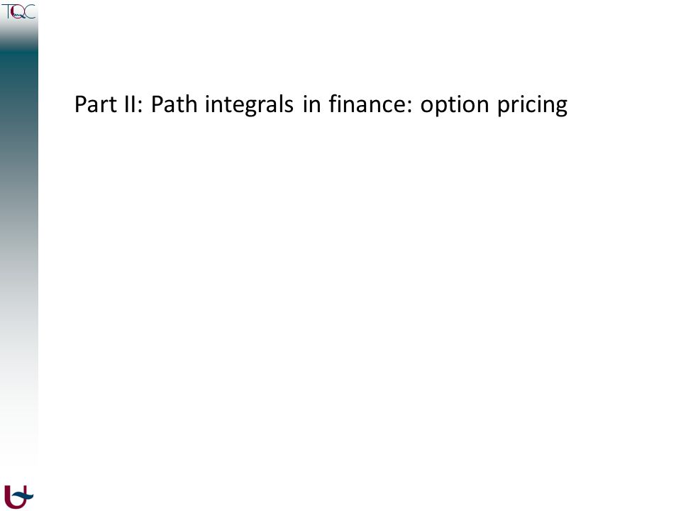 Part II: Path integrals in finance: option pricing