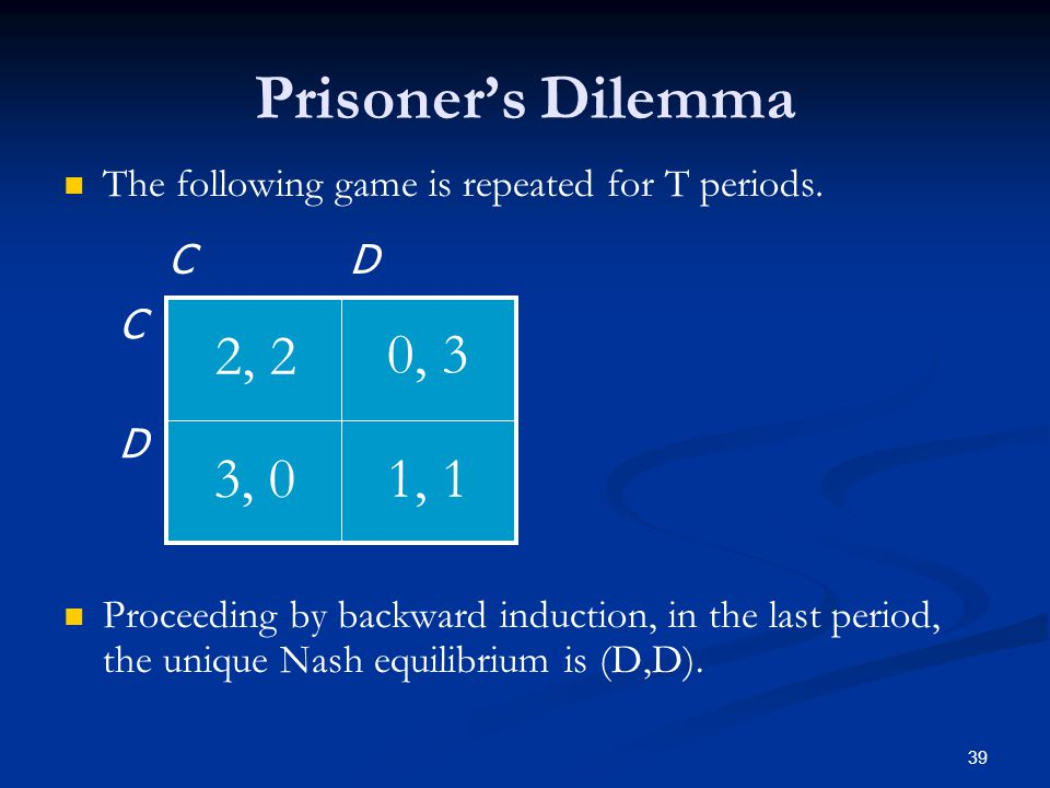 Prisoner's Dilemma The following game is repeated for T periods. Proceeding by backward induction, in the last period, the unique Nash equilibrium is