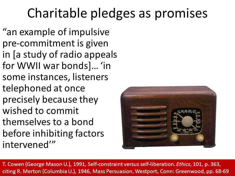"Charitable pledges as promises ""an example of impulsive pre-commitment is given in [a study of radio appeals for WWII war bonds]… 'in some instances,"