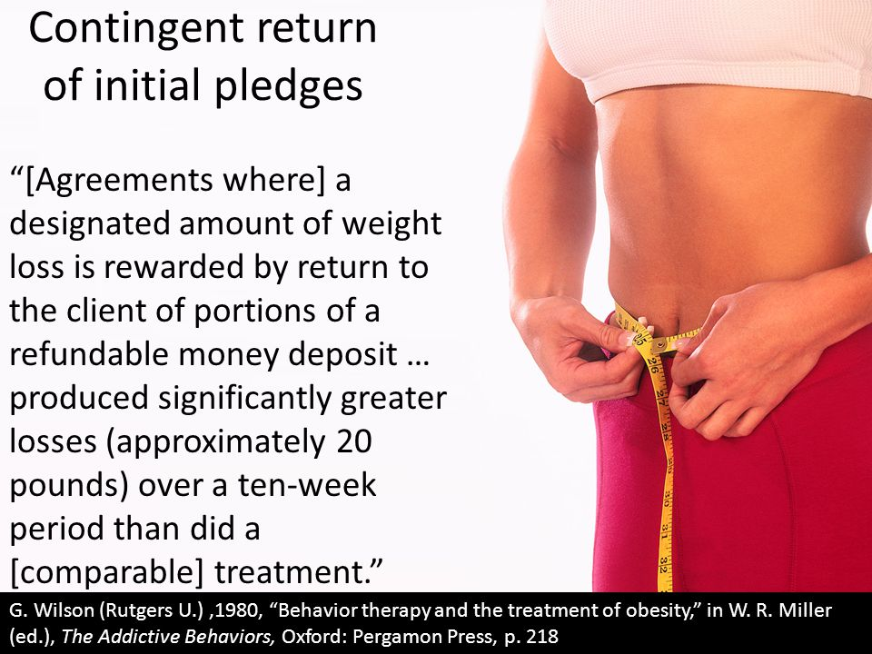 "Contingent return of initial pledges ""[Agreements where] a designated amount of weight loss is rewarded by return to the client of portions of a refun"