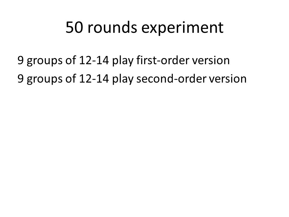 50 rounds experiment 9 groups of 12-14 play first-order version 9 groups of 12-14 play second-order version