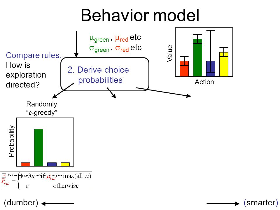 Behavior model 2. Derive choice probabilities Compare rules: How is exploration directed?  green,  red etc  green,  red etc Action Value (dumber)(