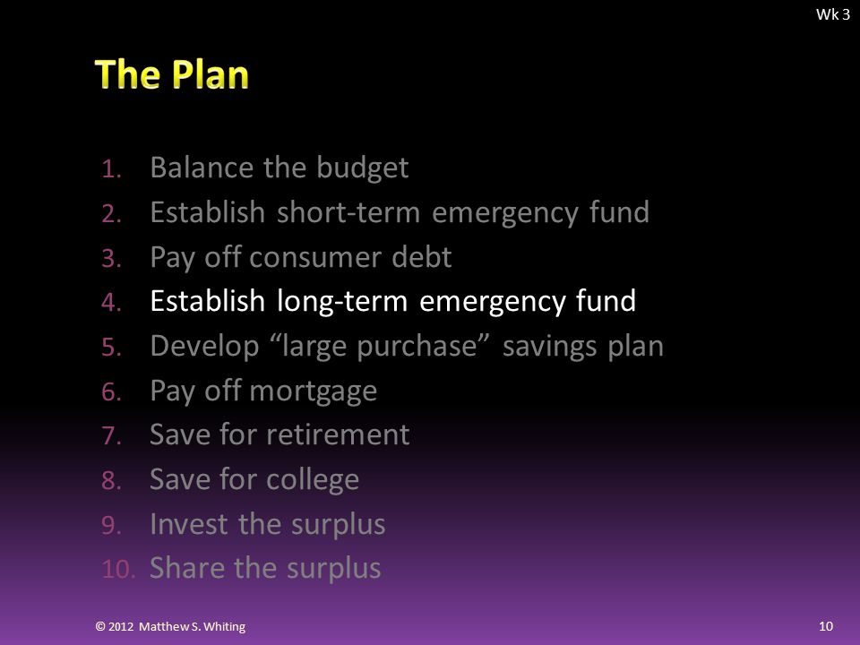 1. Balance the budget 2. Establish short-term emergency fund 3.