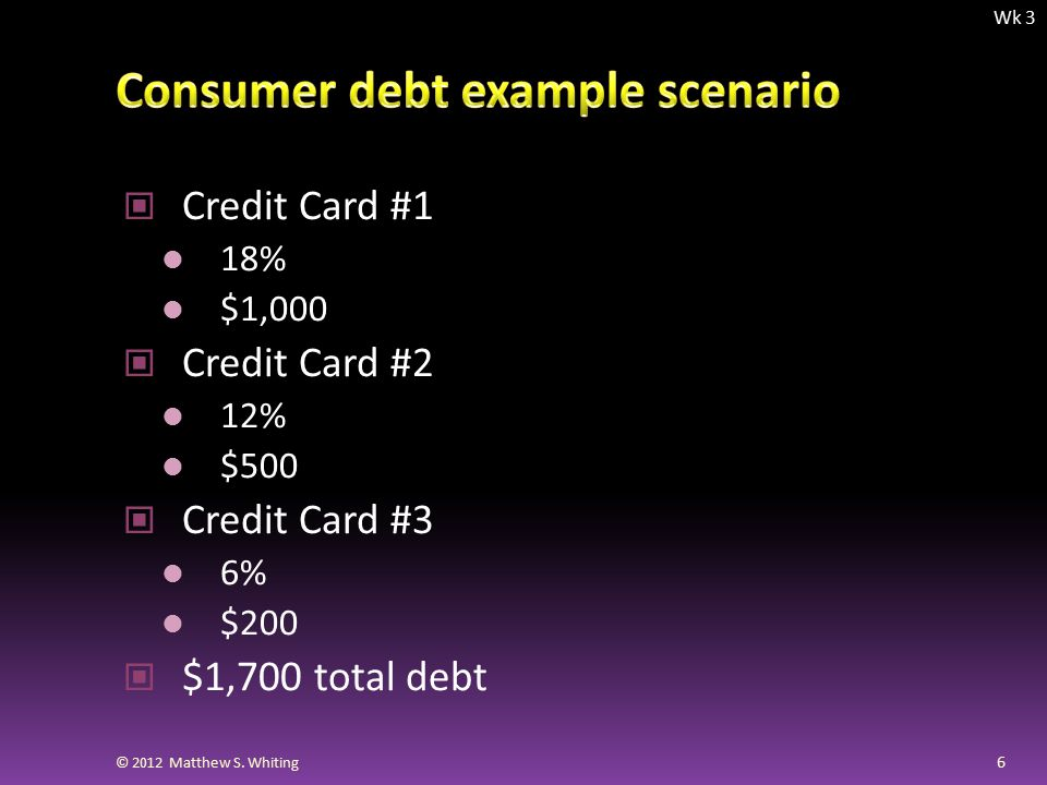 Credit Card #1 18% $1,000 Credit Card #2 12% $500 Credit Card #3 6% $200 $1,700 total debt 6 © 2012 Matthew S.