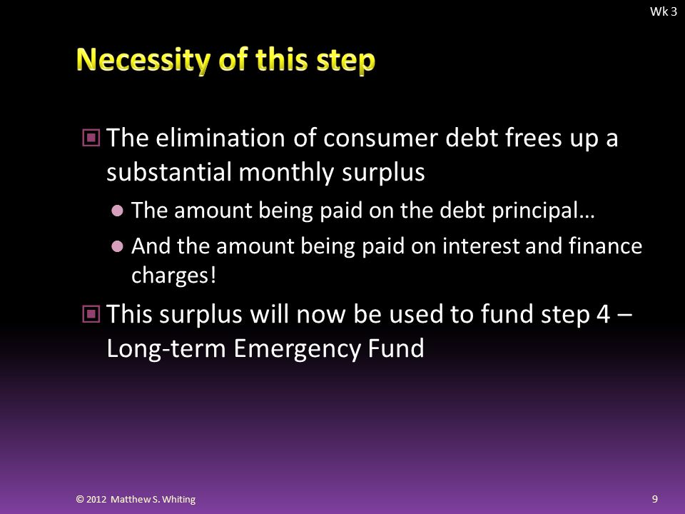 The elimination of consumer debt frees up a substantial monthly surplus The amount being paid on the debt principal… And the amount being paid on interest and finance charges.