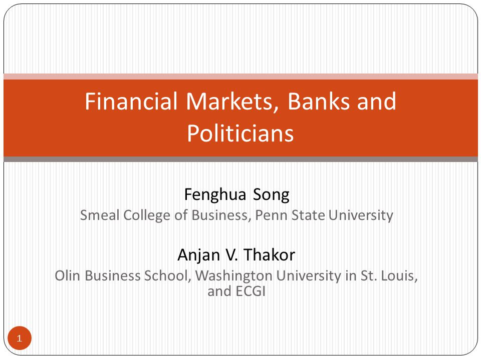 MOTIVATION  Considerable recent interest in financial system architecture: how do banks and markets evolve together as part of a financial system.