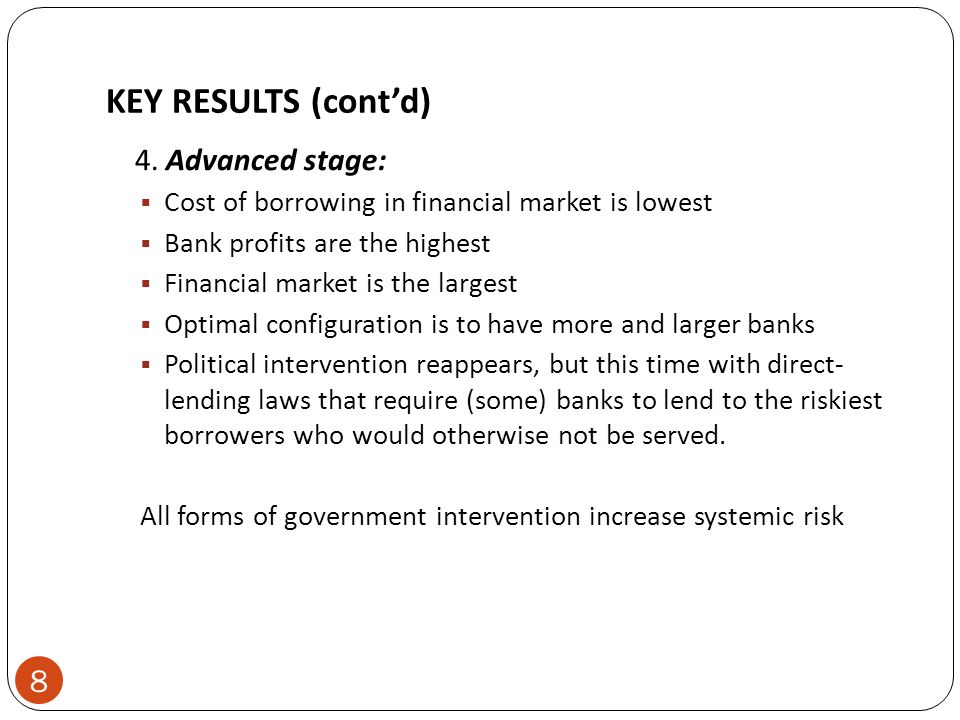KEY RESULTS (cont'd) 4. Advanced stage:  Cost of borrowing in financial market is lowest  Bank profits are the highest  Financial market is the lar