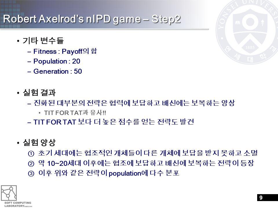 Robert Axelrod's nIPD game – Step2 기타 변수들 –Fitness : Payoff 의 합 –Population : 20 –Generation : 50 실험 결과 – 진화된 대부분의 전략은 협력에 보답하고 배신에는 보복하는 양상 TIT FOR T