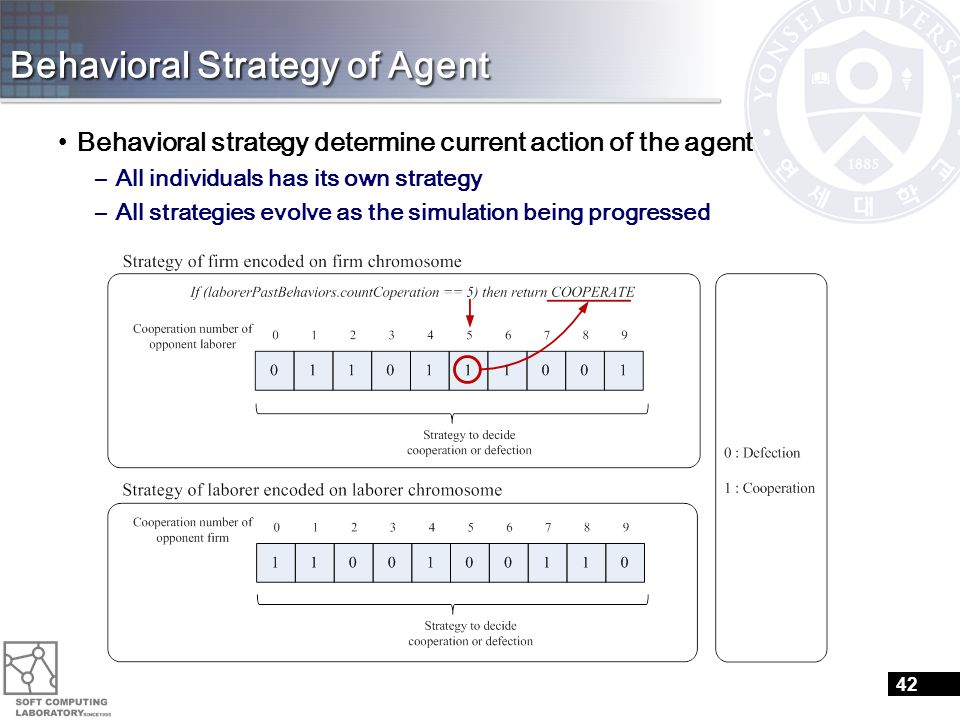 Behavioral Strategy of Agent Behavioral strategy determine current action of the agent –All individuals has its own strategy –All strategies evolve as the simulation being progressed 42