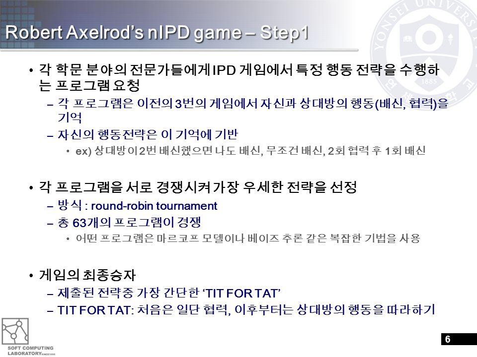 Robert Axelrod's nIPD game – Step1 각 학문 분야의 전문가들에게 IPD 게임에서 특정 행동 전략을 수행하 는 프로그램 요청 – 각 프로그램은 이전의 3 번의 게임에서 자신과 상대방의 행동 ( 배신, 협력 ) 을 기억 – 자신의 행동전략은 이