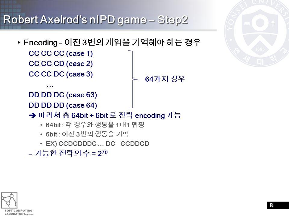 Robert Axelrod's nIPD game – Step2 Encoding - 이전 3 번의 게임을 기억해야 하는 경우 CC CC CC (case 1) CC CC CD (case 2) CC CC DC (case 3) … DD DD DC (case 63) DD DD