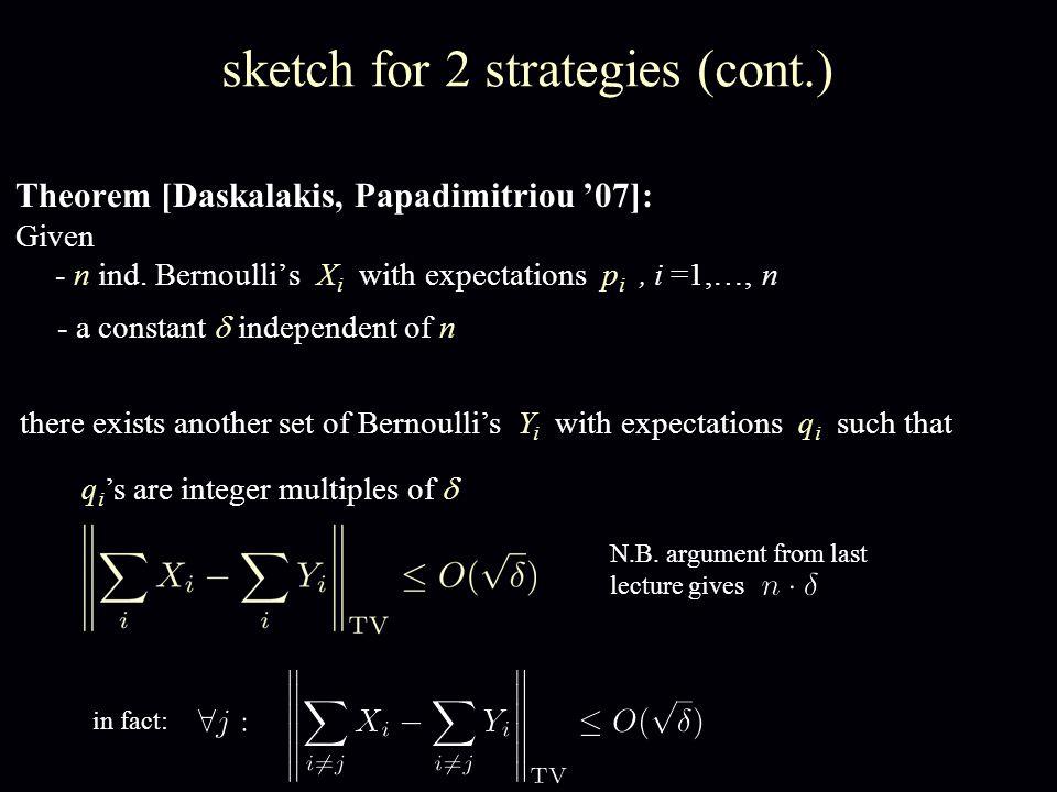 Theorem [Daskalakis, Papadimitriou '07]: Given - n ind.