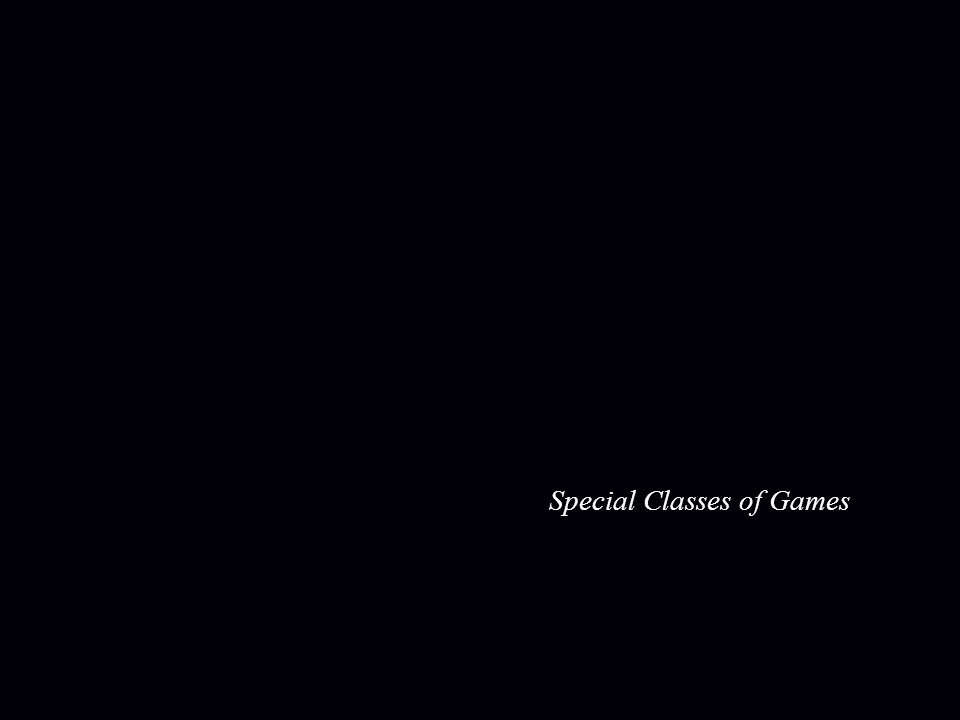 Special Classes of 2-player Games small probability games (  equilibrium with non-trivial support on a linear number of strategies) zero-sum two-player games ( ) poly-time solvable (lecture 2) low-rank two-player games ( ) PTAS[Kannan, Theobald '09] sparse two-player games ( constant number of non-zero entries in each row, column) [Daskalakis, Papadimitriou '09]PTAS [Daskalakis, Papadimitriou '09] PTAS win-lose games (all payoff entries in {0,1}) exact is PPAD-complete [follows from Abbott, Kane, Valiant '05] also no FPTAS [Chen, Teng, Valiant '07] note : exact is PPAD-complete [Chen,Deng,Teng 06] note : exact is PPAD-complete no PTAS is known..