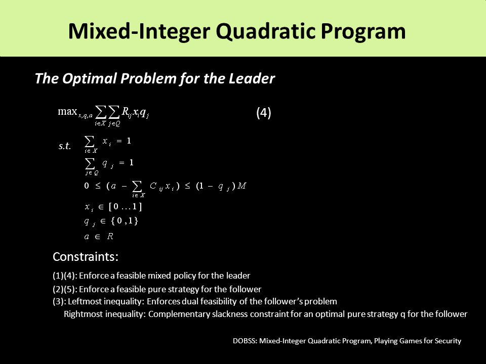 The Optimal Problem for the Leader (4) s.t.