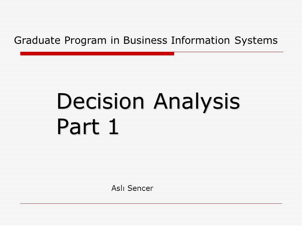 Decision Analysis Part 1 Graduate Program in Business Information Systems Aslı Sencer