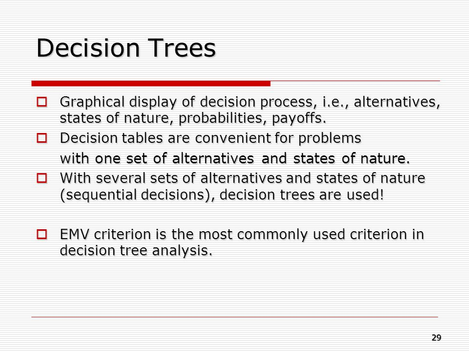  Graphical display of decision process, i.e., alternatives, states of nature, probabilities, payoffs.  Decision tables are convenient for problems w