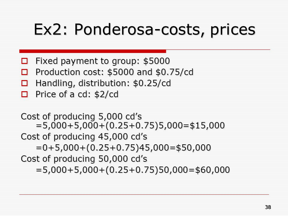 Ex2: Ponderosa-costs, prices  Fixed payment to group: $5000  Production cost:$5000 and $0.75/cd  Handling, distribution: $0.25/cd  Price of a cd: