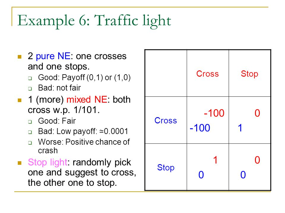 Example 6: Traffic light 2 pure NE: one crosses and one stops.