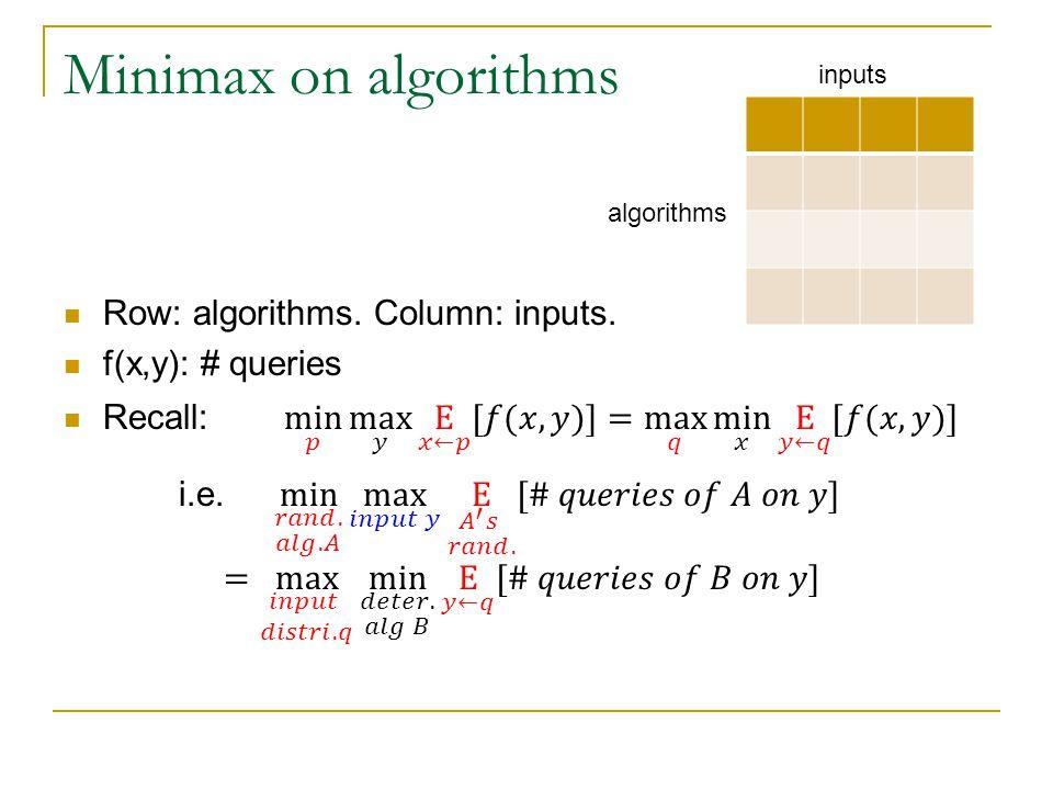 Minimax on algorithms inputs algorithms