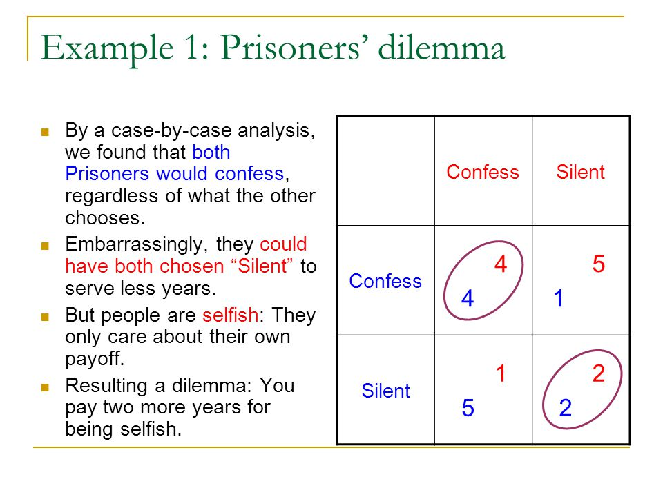 Example 1: Prisoners' dilemma By a case-by-case analysis, we found that both Prisoners would confess, regardless of what the other chooses.