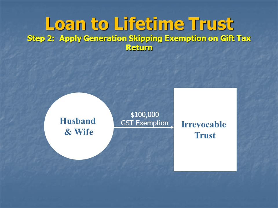 Loan to Lifetime Trust Step 2: Apply Generation Skipping Exemption on Gift Tax Return Husband & Wife Irrevocable Trust $100,000 GST Exemption